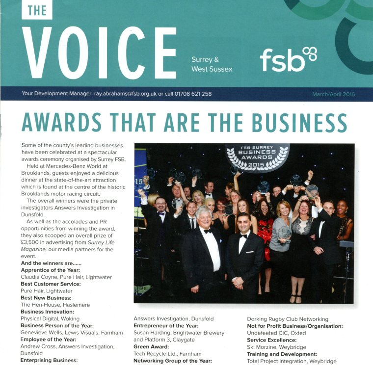 FSB Business Awards Finalist apprentice of the year